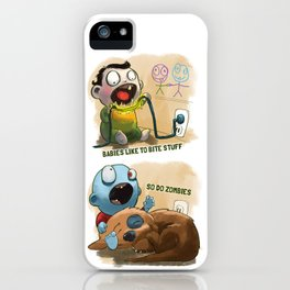 Zombies like to bite stuff too. iPhone Case