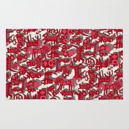 chinese animals red Rug