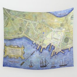 Vintage Map of Falmouth Neck Maine (1775) Wall Tapestry