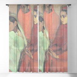 12,000pixel-500dpi - Amrita Sher-Gil - Group of Three Girls - Digital Remastered Edition Sheer Curtain