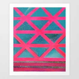 Turquoise on Hot Pink Art Print