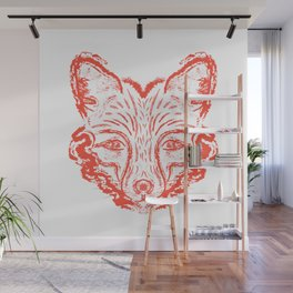 Muzzle foxes. Fox with sideburns, sketch strokes. Wall Mural