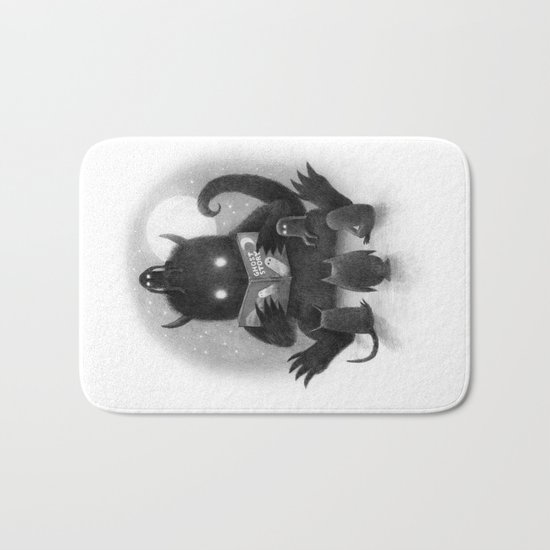 Story Time (black and white option) Bath Mat