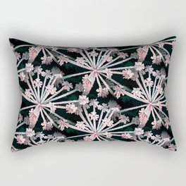Frost Flower Abstract In Pink And Black Rectangular Pillow