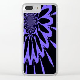 The Modern Flower Black and Periwinkle Purple Clear iPhone Case