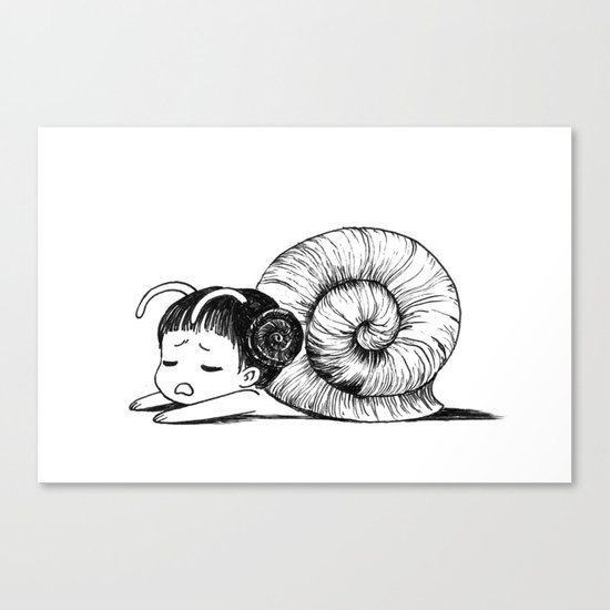 Snail girl Canvas Print