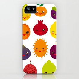 kawaii fruit Pear Mangosteen tangerine pineapple papaya persimmon pomegranate lime iPhone Case