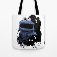 cookie monster Tote Bags featuring Monster Madness: Cookie Monster by SB Art Productions