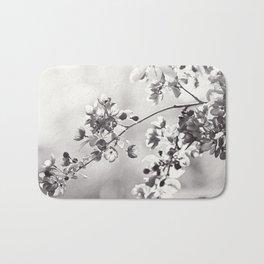 Black and White Floral Photography, Grey Neutral Nature Art, Light Gray Botanical Flower Photo Bath Mat