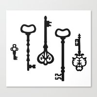 black keys Canvas Prints featuring Victorian black & white Keys by XOOXOO