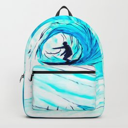 Lone Surfer Tubing the Big Blue Wave Backpack