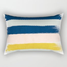 Esther - navy mint gold painted stripes brushstrokes minimal modern canvas art painting Rectangular Pillow