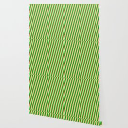 Brown, Mint Cream, Lime Green & Dark Green Colored Lined Pattern Wallpaper