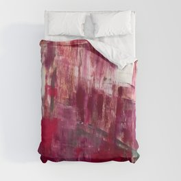 Sunset in the Valley [2]: a colorful abstract piece in reds, pink, gold, gray, and white Duvet Cover