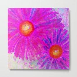 Bright Pink Sketch Flowers Metal Print