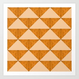 Concrete dark cheddar orange triangles geometry Art Print