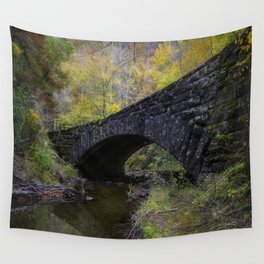 Laurel Creek Bridge - Autumn Colors Surround a Stone Bridge in Smoky Mountains Wall Tapestry