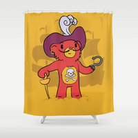 captain hook Shower Curtains featuring Captain Bear Hook by pepemaracas