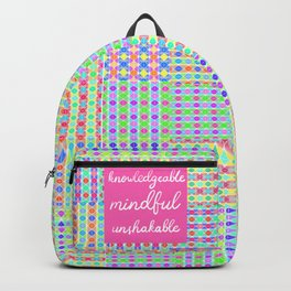 Knowledgeable, Mindful, Unshakable on Preppy Pink Print Pattern Backpack