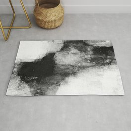 "Black and White Textured Abstract Painting ""Delve 3"" Rug"