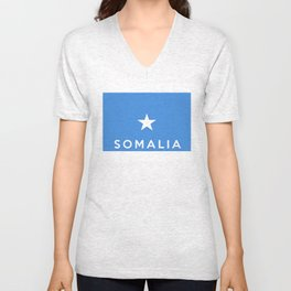 Somalia country flag name text Unisex V-Neck
