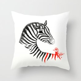 Black Zebra and Orange Bird Throw Pillow
