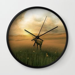 The deer into the lights Wall Clock