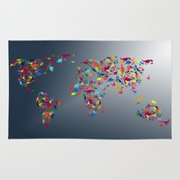 map of the world Area & Throw Rugs featuring WORLD MAP  by mark ashkenazi
