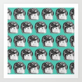 Minifigure Pattern – Teal Art Print