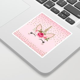 Pink & Gold Cute Floral Unicorn Sticker