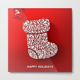 Merry Christmas-Happy holidays - Boot llustration and Typography Metal Print
