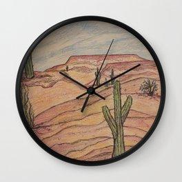 Saguaros in Arizona Wall Clock