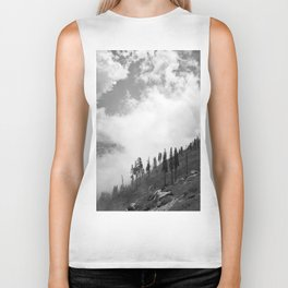Mountains, Valleys and Forests. Yosemite National Park, Black and White Photography, Clouds and Fog Biker Tank