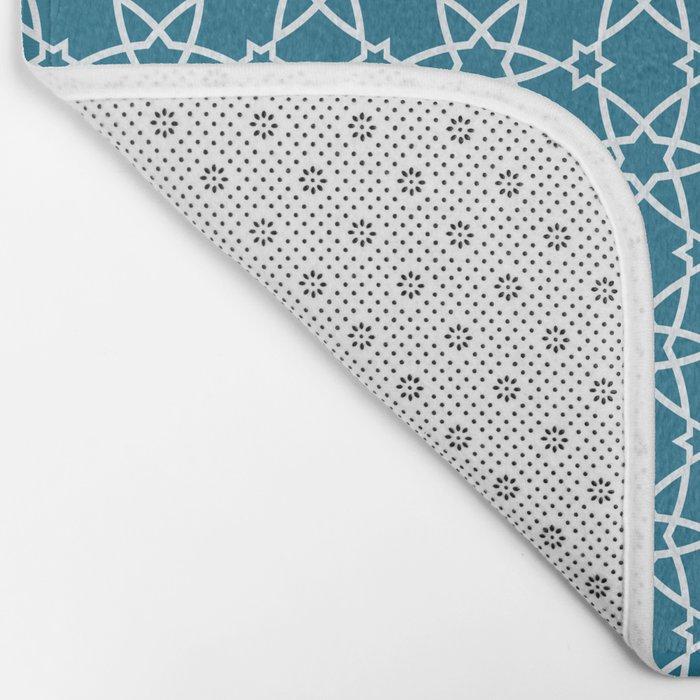Geometric blue-white pattern Bath Mat