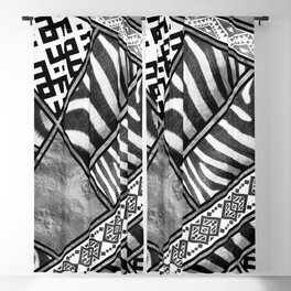 Zebra Animal Print with Ethnic Ornaments Blackout Curtain