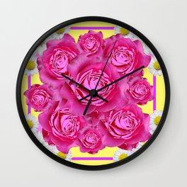 Pink Roses Fuchsia & Daisy FlowersYellow  Art Design Abstract Wall Clock
