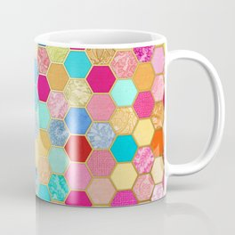 Patterned Honeycomb Patchwork in Jewel Colors Coffee Mug