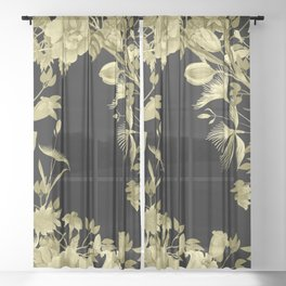 Stardust Black and Gold Floral Motif Sheer Curtain