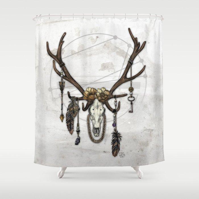 Bestial Crowns: The Elk Shower Curtain