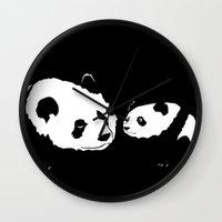 pandas Wall Clocks featuring Pandas by Elena Medero