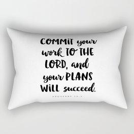 Proverbs 16:3 - Bible Verse Rectangular Pillow