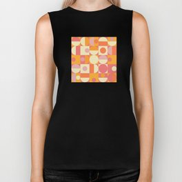 Thoroughly Modern Pink And Orange Geometric Design Biker Tank