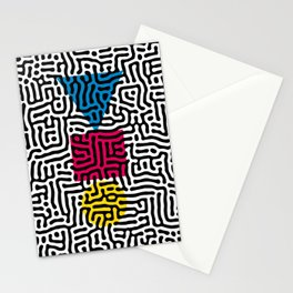Instable Equilibrium Abstract Primitivism Art Pattern by Emmanuel Signorino Stationery Cards