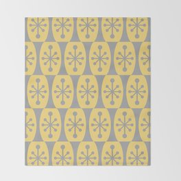 Mid Century Modern Atomic Fusion Pattern 332 Yellow and Gray Throw Blanket