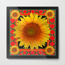RED-TEAL BLACK  DECO YELLOW SUNFLOWERS Metal Print