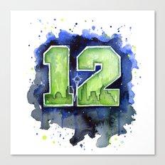 12th Man Seahawks Seattle Go Hawks Art Canvas Print