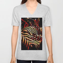 1206s-AK Abstract Striped Nude Rendered in Red Yellow and Gold Unisex V-Neck