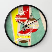 card Wall Clocks featuring CHRISTMAS CARD by mark ashkenazi
