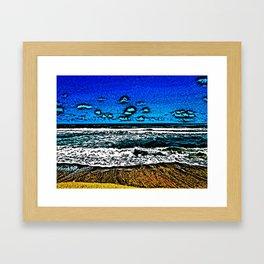 Ocean, Sky, Beach, and Sand Framed Art Print