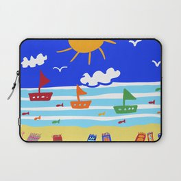 Naive Beach - Blue & Gold  Laptop Sleeve